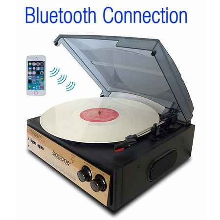 2 Speed Belt Drive - Boytone BT-13G with Bluetooth Connection 3-Speed Stereo Turntable Belt Drive 33/45/78 RPM, 2 built in Speakers AM/FM Ste