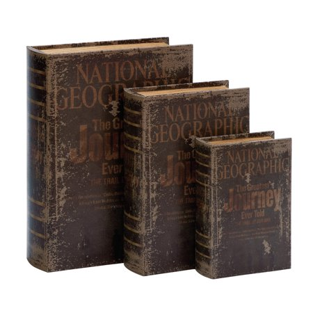 Decmode Wood And Leather National Geographic-Themed Book Boxes, Brown - Set of - Set Signed Box