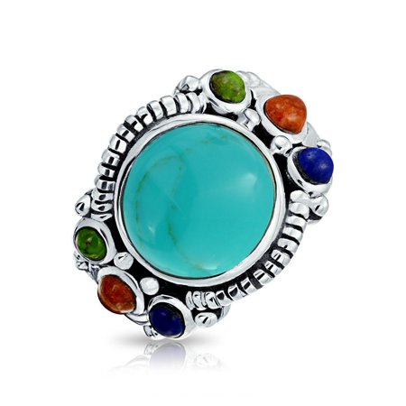Multi Stone Color Gemstone Cluster Round Cabochon Stabilized Turquoise Boho Statement Ring For Women 925 Sterling Silver