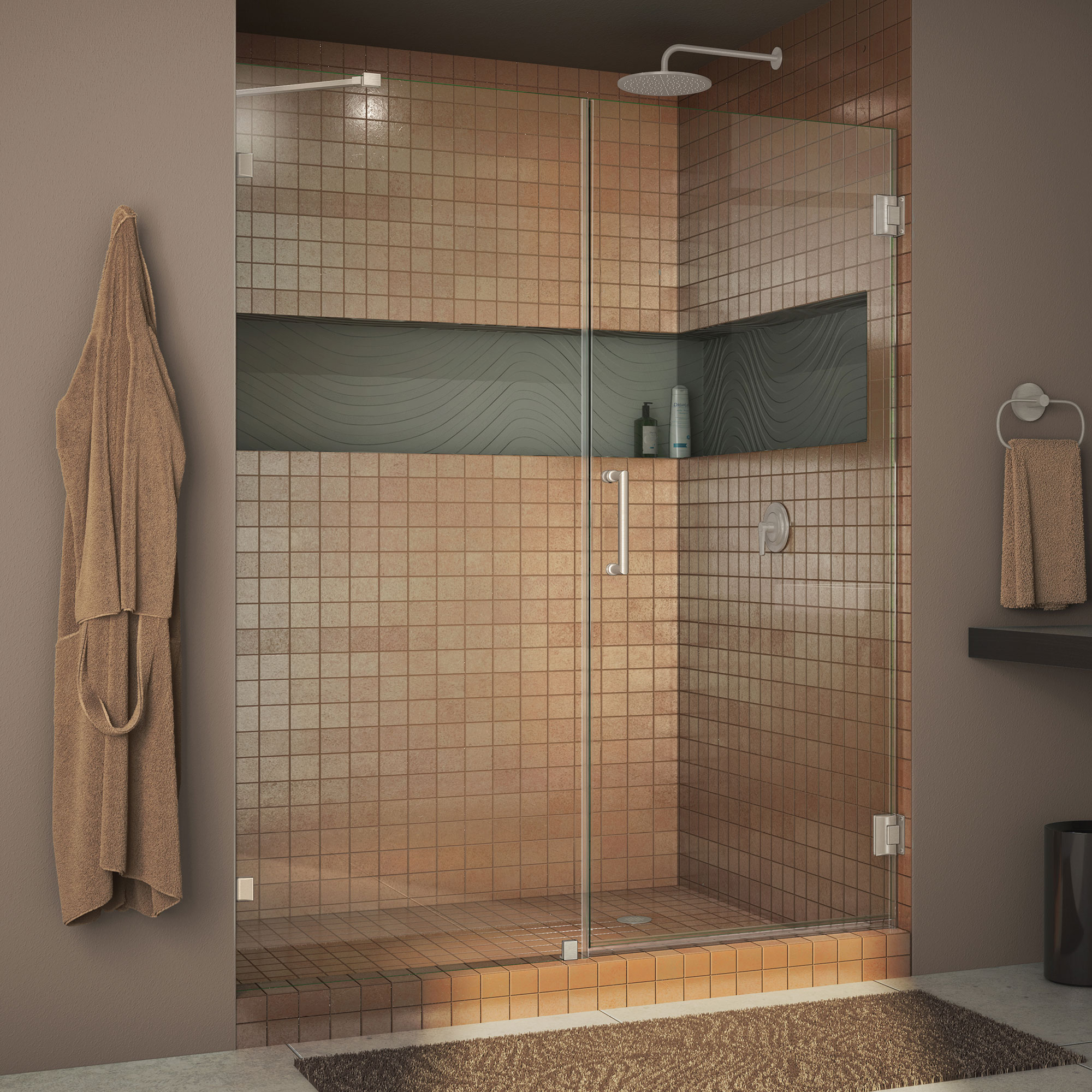 DreamLine Unidoor Lux 60 in. W x 72 in. H Fully Frameless Hinged Shower Door with Support Arm in Brushed Nickel