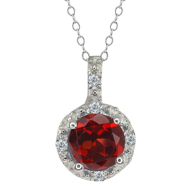 0.63 Ct Round Red Garnet and White Diamond 14k White Gold Pendant