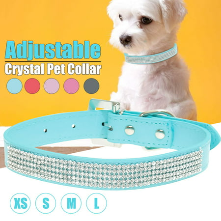 Adjustable Puppy Accessories Dog Collar, Rhinestones Diamante Comfort Padded Dog Collar Crystal Band Pu Leather Bling Puppy Dog Cat Pet Collar Tag, XS/S/M/L Size