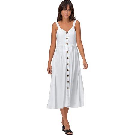 Ellos Plus Size Button-front A-line Dress](Antique Dress)