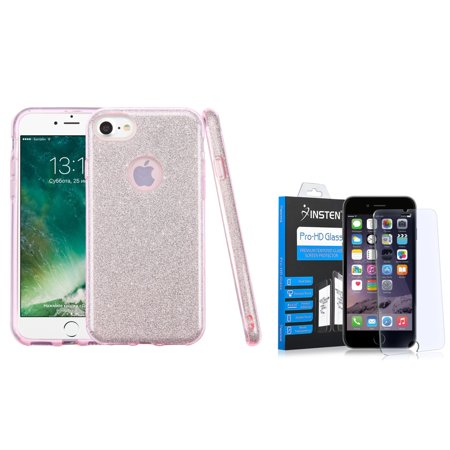 (Insten Bling Glitter Hybrid Hard Plastic / Soft Flexible Rubber Case For iPhone 7 - Pink (+ Glass Screen Protector))