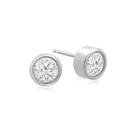 1/2 Carat Bezel Set Diamond Stud Earrings Crafted In 14 Karat White Gold