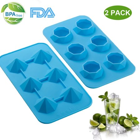 Diamond Ice Cube Tray - 2 Pack Silicone Ice Make Mold - 3D Jelly & Candy & Chocolate & Coffee & Whisky Freeze Ice Molds (Irish Coffee Whiskey)