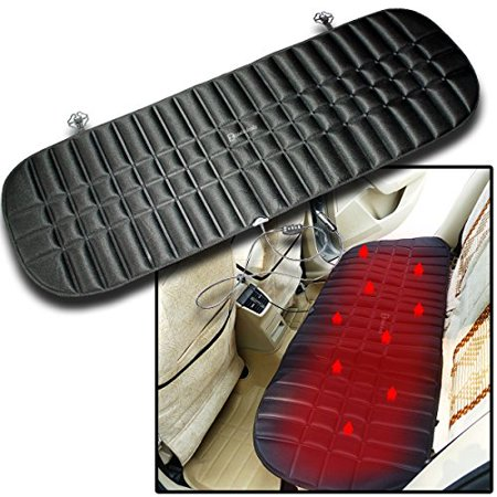 Zento Deals Car Rear Heated Black Seat Cushion-12V Plug Universal Pad Cold Weather Body Warmer