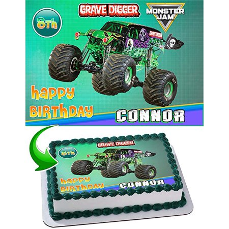Monster Truck Grave Digger Monster Jam Edible Image Cake Topper Personalized Birthday 1/4 Sheet Decoration Party Birthday Sugar Frosting Transfer Fondant Image Edible Image for - Monster Truck Cakes