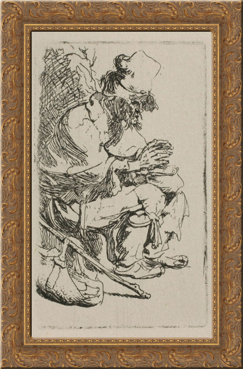 A Beggar Warming his Hands over a Chafing Dish 18x24 Gold Ornate Wood Framed Canvas Art by Rembrandt by FrameToWall