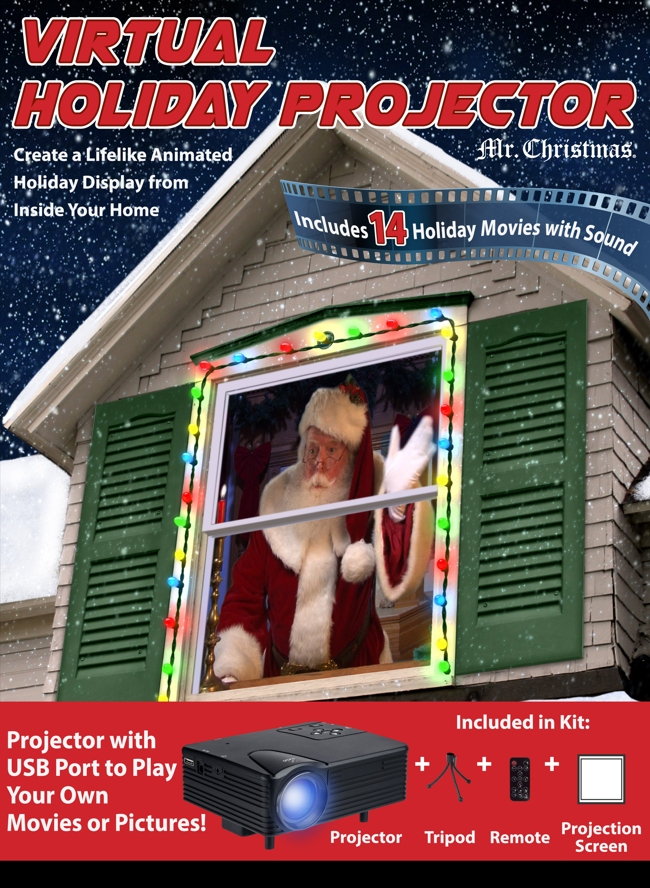 Mr. Christmas Indoor Virtual Holiday Projector - Walmart.com