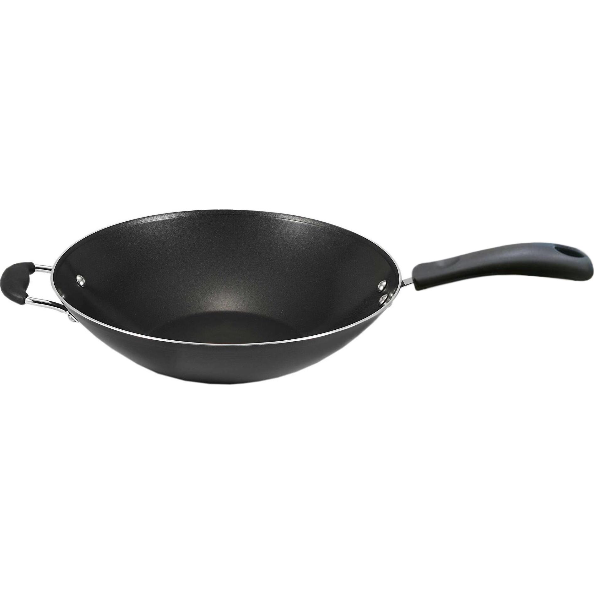 "T-fal, Easy Care Nonstick, B15089, Dishwasher Safe Cookware, 14"" Jumbo Wok, Black"