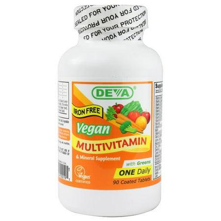 Deva Vegan One Daily multivitamines et minéraux comprimés, sans fer, 90 Ct