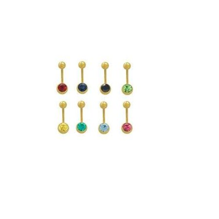 "Belly Naval Ring Jeweled 14k Gold Plated  14G 7/16"" 11mm Pack of 8 PC"