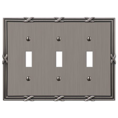 Amerelle 44TTTAN Ribbon and Reed 3 Toggle Wallplate, Antique Nickel ()