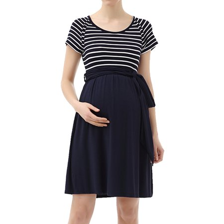 Glow & Grow Maternity Striped Belted Tie Dress - Neon Glow In The Dark Dresses