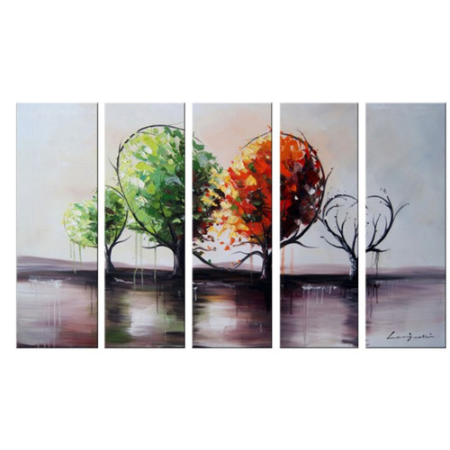 "Design Art ""Branch Out For Love "" Hand-Painted Textured Landscape Canvas Painting, 4-Piece Set, 65"" x 30"""