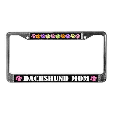 CafePress - Dachshund Mom License Plate Frame Gift - Chrome License Plate Frame, License Tag Holder ()
