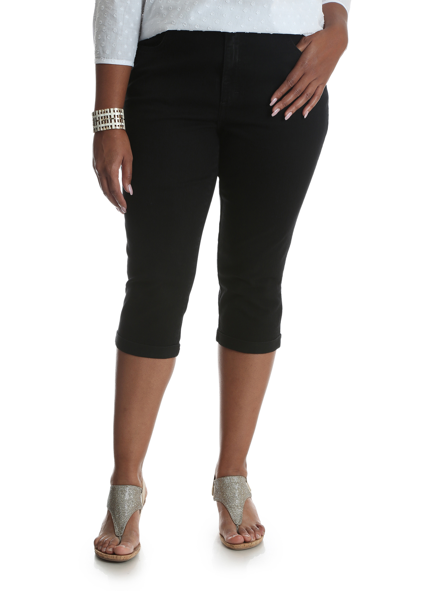 Women's Plus Simply Comfort Roll Cuff Capri
