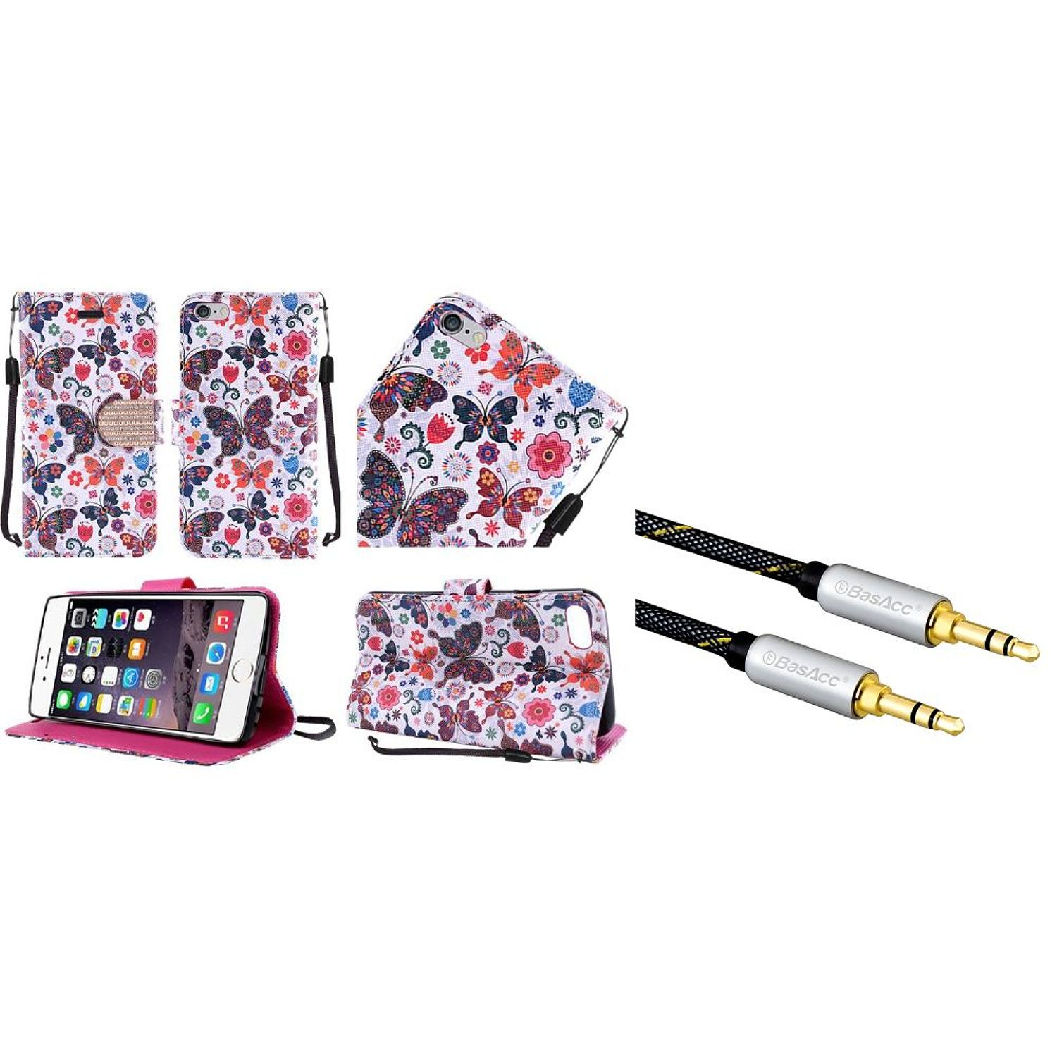 Insten Butterfly Leather Cover Stand Case with Lanyard For iPhone 6s Plus / 6 Plus (+ 3.5mm Audio Cable M/M)