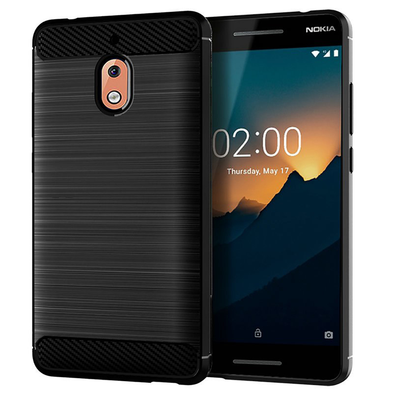 "Phone Case for Verizon Prepaid Nokia 2V (5.5""), Nokia 2V Case Brush Textured Slim-Flex Gel Cover (Brush Flex Gel Black)"