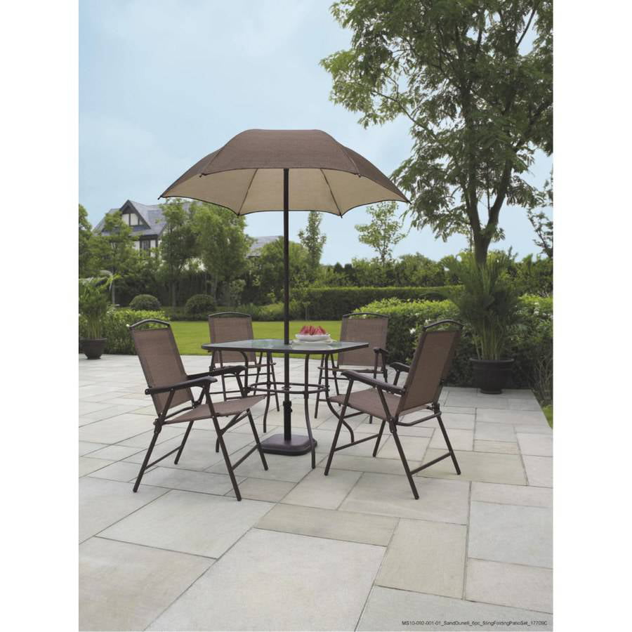 best choice products 6 piece outdoor folding patio dining set w table 4 chairs umbrella and built in base tan walmartcom - Patio Table With Umbrella
