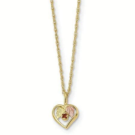 10K Tri Color Gold Black Hills Gold Heart Garnet Pendant with Necklace,