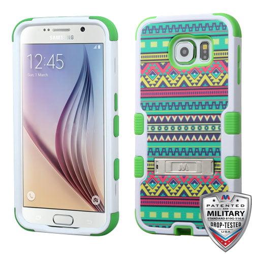 Samsung Galaxy S6 Case - Wydan TUFF Hybrid Hard Shockproof Case Kickstand Protective Heavy Duty Impact Skin Cover Tribal - Green