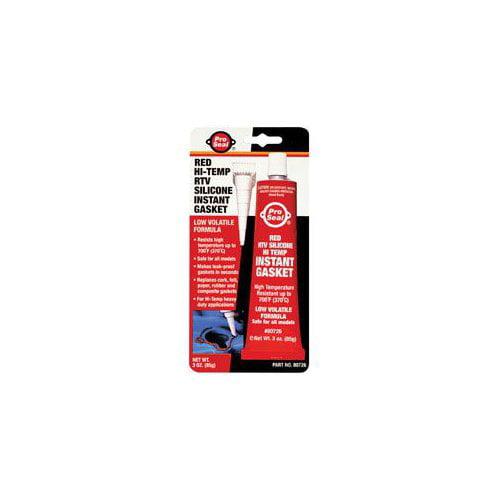 Pro Seal 80726 Red Hi-Temp RTV Silicone Instant Gasket. 3 oz. Multi-Colored