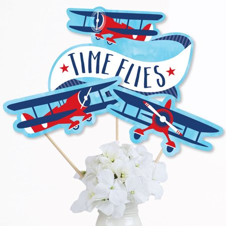 Taking Flight - Airplane - Vintage Plane Baby Shower or Birthday Party Centerpiece Sticks - Table Toppers - Set of 15 (Airplane Centerpieces)