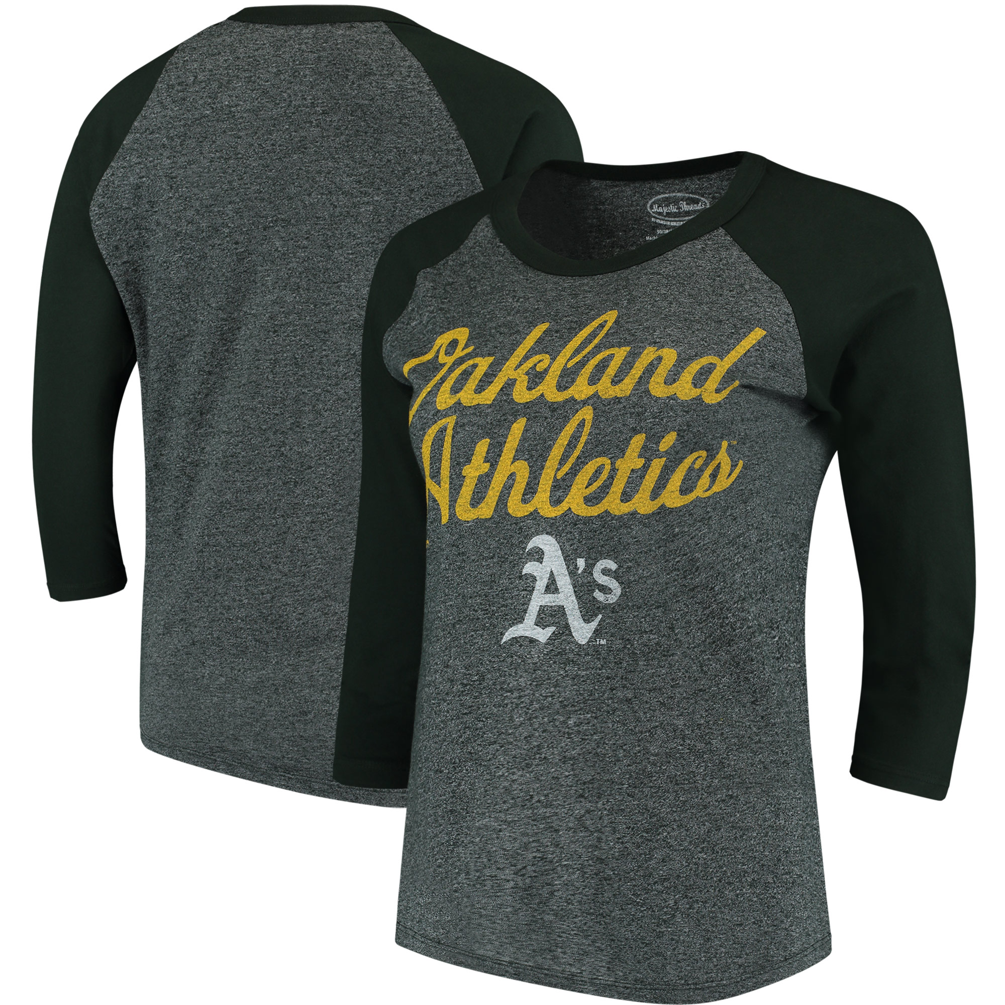 Oakland Athletics Majestic Threads Women's 3/4-Sleeve Raglan T-Shirt - Green