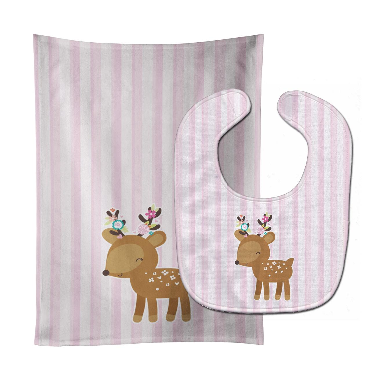 Deer in Pink Stripes Baby Bib & Burp Cloth BB6934STBU