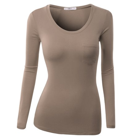 NINEXIS Women's Basic Scoop Neck Long Sleeve T-Shirt with Chest Pocket
