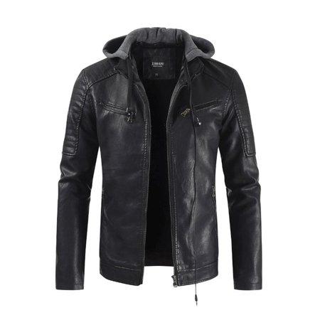 Men Warm Collar Neck Slim Leather Jacket (Leather Slim Jacket)
