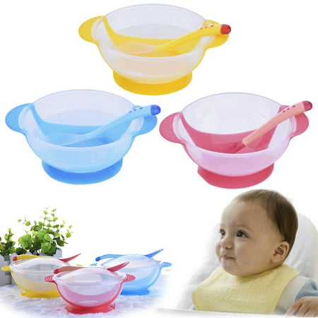 3 Colors Baby Training Spoon Anti-Slip Feeding Suction Bowl Temperature Colour Changing Bowl Tableware Cup ()