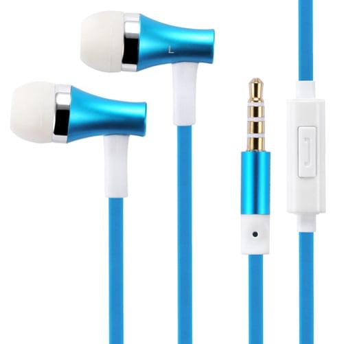 Premium Sound Blue Earbuds Handsfree Earphones Mic for Motorola Droid Turbo 2 - OnePlus 6 - Samsung Galaxy Tab S3 9.7 S2 NOOK 8.0 (SM-T710) E NOOK 9.6 (SM-T560) 4 NOOK 7.0 (SM-T230)