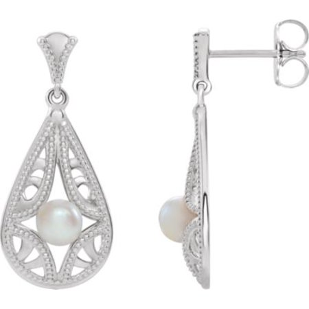 14K White Gold Freshwater Cultured Pearl Vintage-Inspired Drop and Dangle Earrings Vintage Estate 14k Gold Pearl