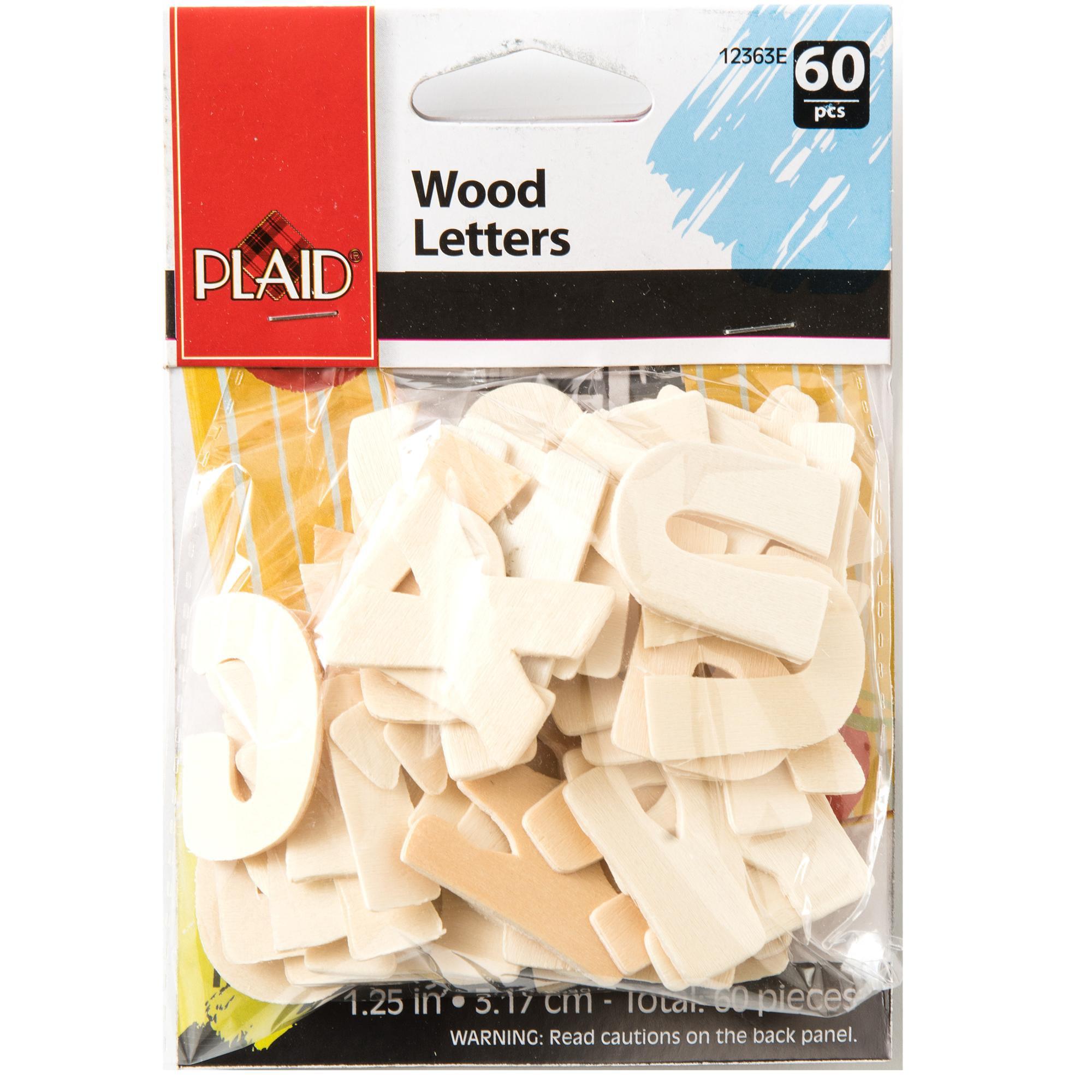 "Plaid   Wood Surfaces, Letter Packs, 1¼"" Bold, 60 Pieces"