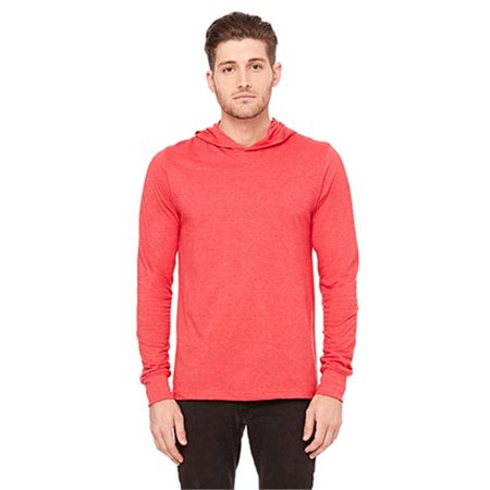 Bella 3512 Unisex Jersey Long Sleeve Hoodie - Heather Red, Extra Large Extra Large Heather