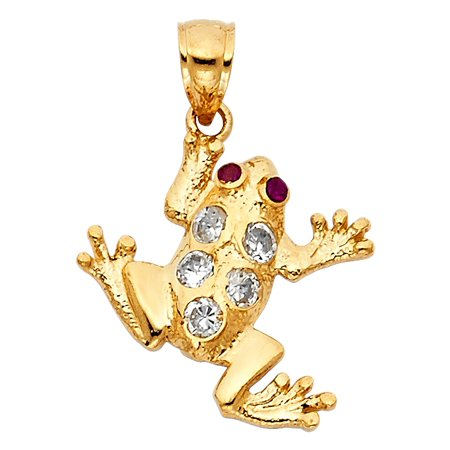 14K Solid Yellow Gold Polished Cubic Zirconia Frog Pendant