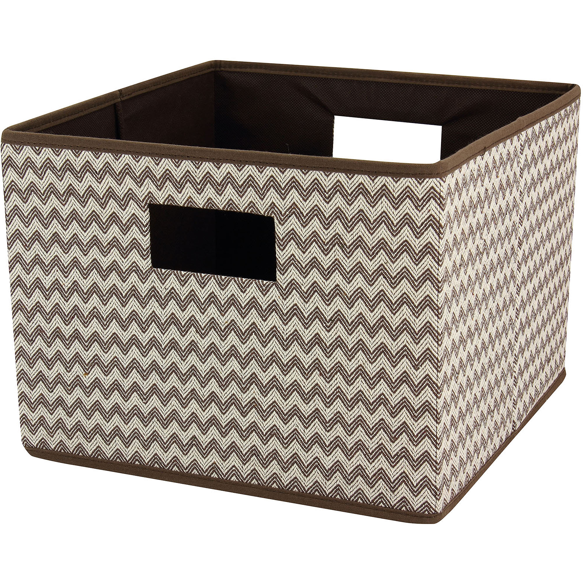 Household Essentials Open Storage Bin, Brown Chevron