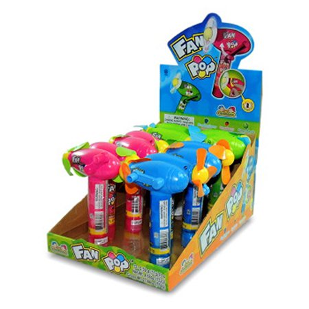 KIDSMANIA FAN POP WITH CANDY 0.39 oz Each (12 in a Pack) NO BATTERY (Push Pop Candy)