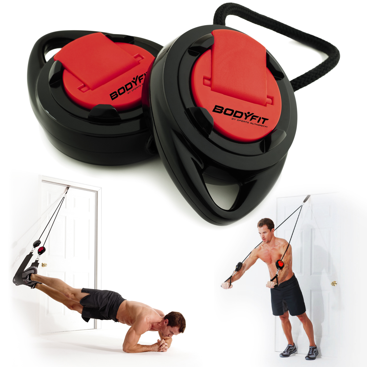 BodyFit Sports Authority Suspension Trainer Door Anchor Adjustable Straps Fitness DVD Exercise