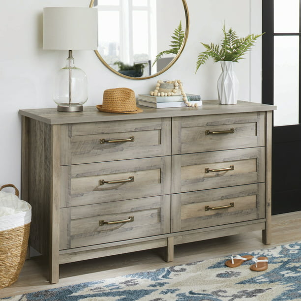 Better Homes & Gardens Modern Farmhouse 6-Drawer Dresser, Rustic Gray Finish