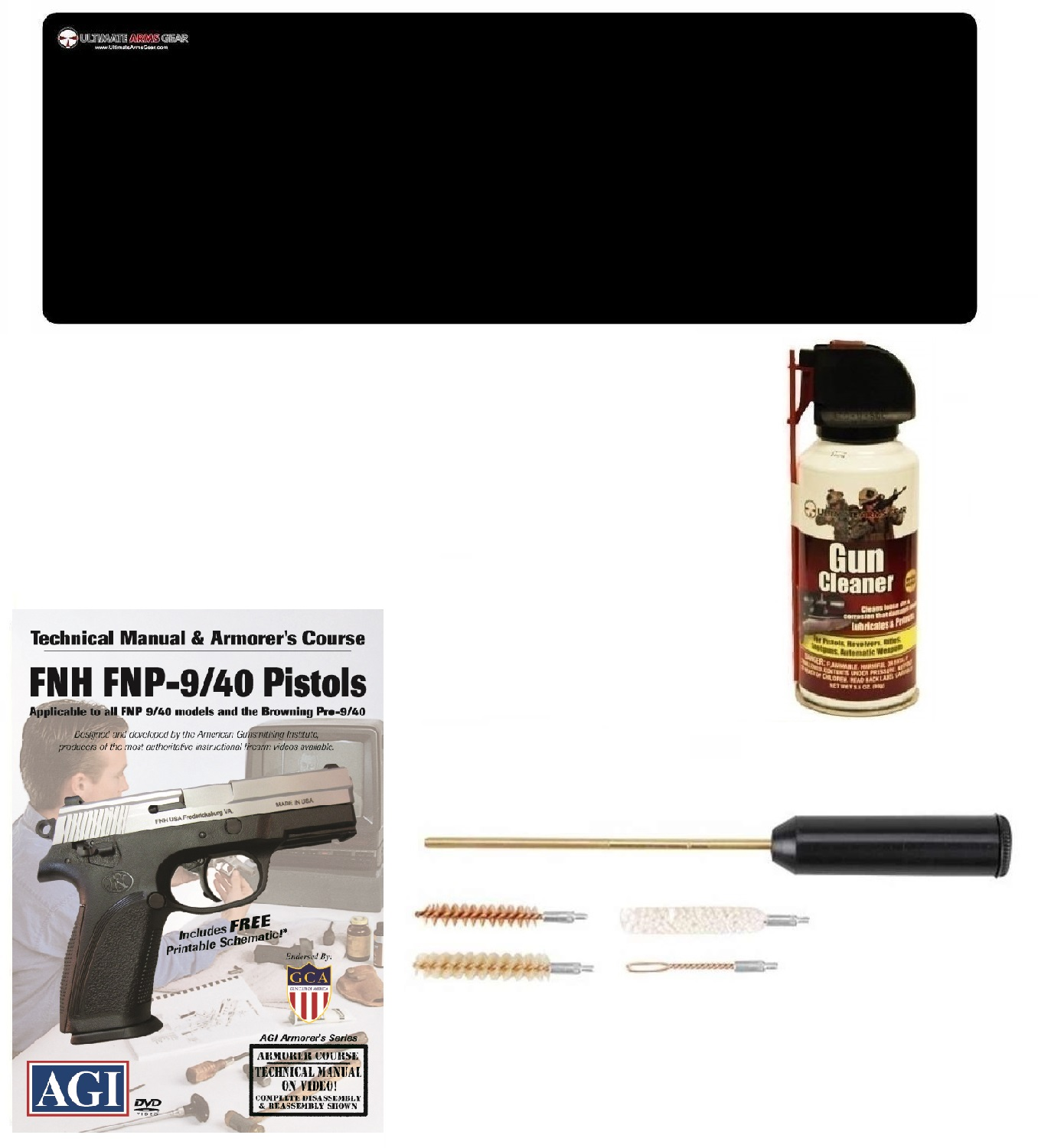 AGI DVD Armorer's Course FNH FNP-9 FN-40 Semi Auto Pistols + Ultimate Arms Gear Gunsmith & Armorer's Cleaning Bench Gun Mat + Compact Pocket Sized Travelling Cleaning Kit + Cleaner Spray