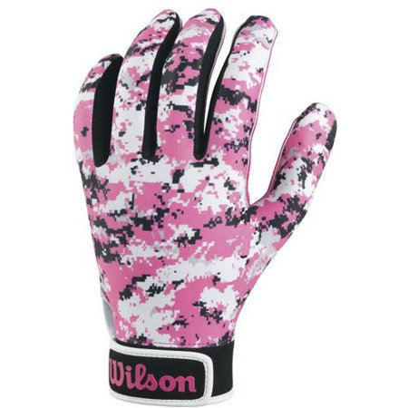 - wilson youth special forces receivers gloves, pink camouflage, large