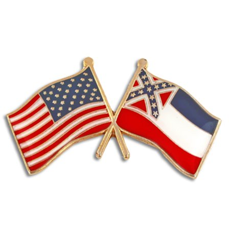 PinMart's Mississippi and USA Crossed Friendship Flag Enamel Lapel