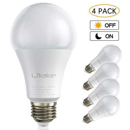Litake Dusk To Dawn Led Light Smart Sensor Bulbs A19 9