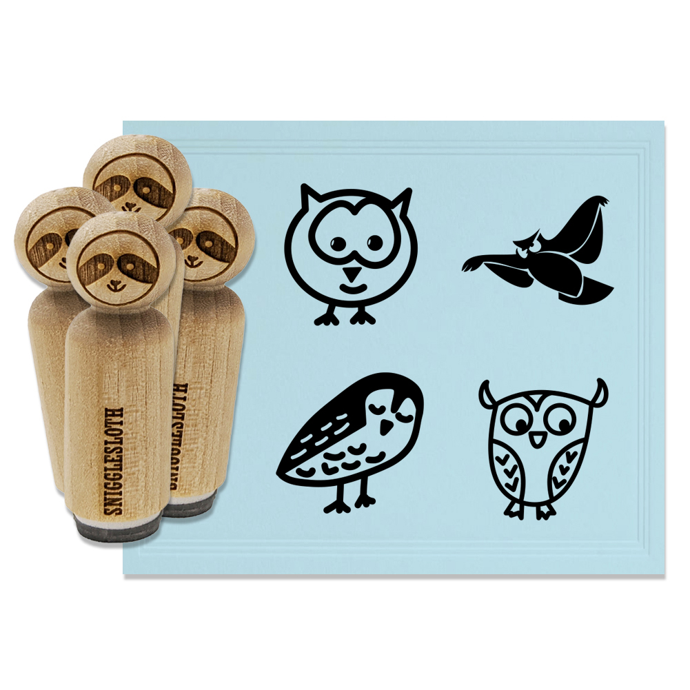 Return Address Owl Rubber Stamp 3 x 2 inches