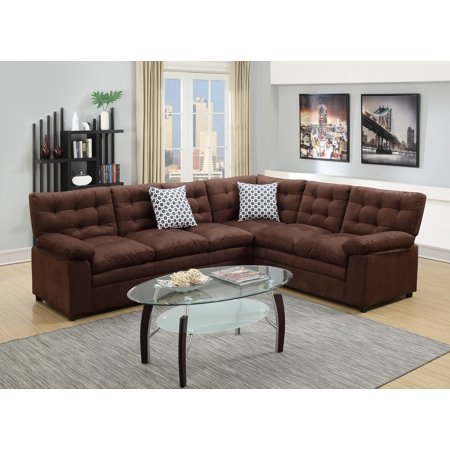 2pcs Sectional Living Room Chocolate Microfiber Tufted Loveseat