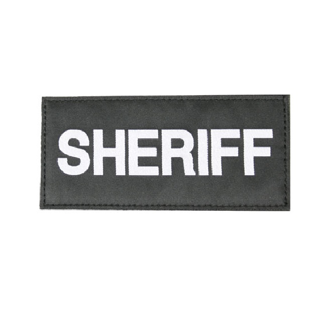 Image of BlackHawk 90IN06WB White On Black Sheriff Uniform Patch - Sew On/MOLLE/Strike